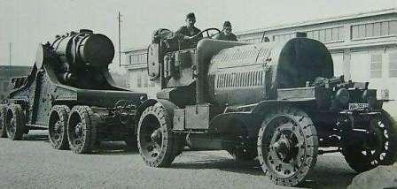 Артиллерийский тягач – генератор Austro-Daimler M16 B-Zug, C-Zug с 420-мм осадной мортирой Skoda 1916