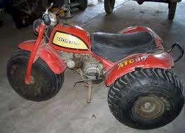 История ATV All Terrain Vehicle - транспортное средство для езды по всем поверхностям. Honda ATC90 threewheeler
