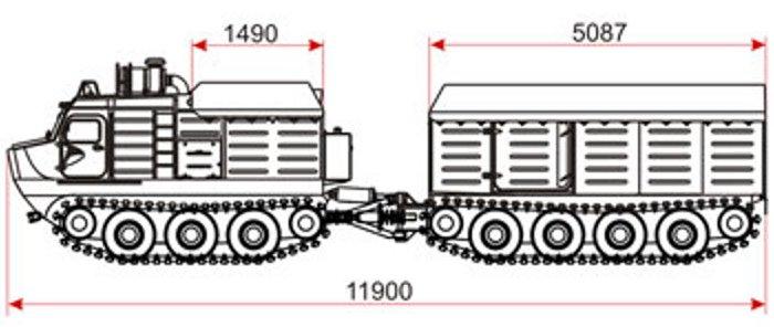 Тактико-технические характеристики гусеничных двухзвенных вездеходов Витязь ДТ-5П, ДТ-10П, ДТ-30П