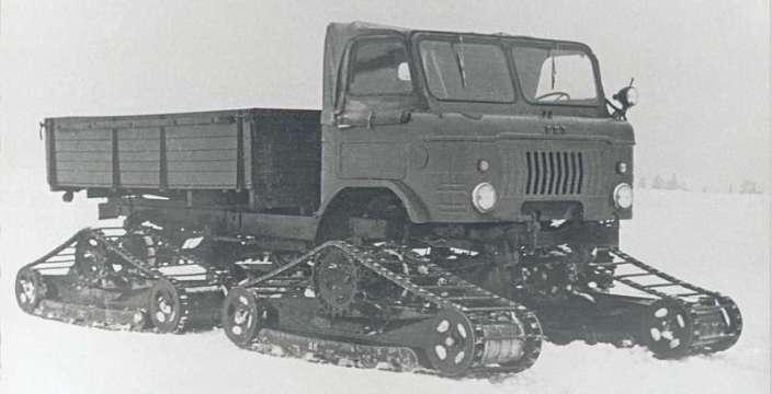 Шишига - памятник автомобилестроению СССР. ГАЗ-66 на безтраковых гусеницах С.С. Неждановского 1961 год