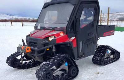 ATVUTV на гусеницах против снегоходов Polaris Ranger 700