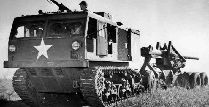 American M6 Tractor - Труженик войны, лишённый славы. M4 буксирует 155mm Гаубицу