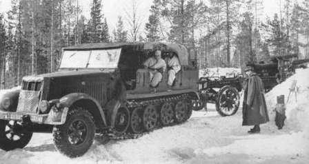Sd.Kfz. 7 средний армейский тягач вермахта и 150 мм гаубица FH18
