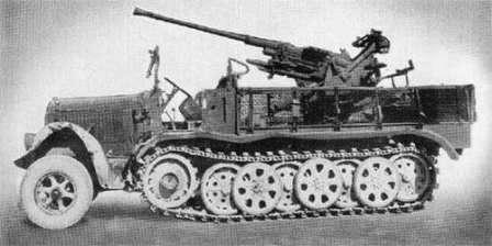 Sd.Kfz. 7 средний армейский тягач вермахта и 37 миллиметровое зенитное орудие